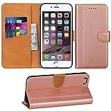 Adicase iPhone 6 Plus Hülle Leder Wallet Tasche Flip Case Handyhülle Schutzhülle für Apple iPhone 6 Plus / 6S Plus 5,5 Zoll (Rose Gold)