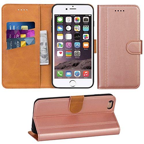 Adicase iPhone 6 Plus Hülle Leder Wallet Tasche Flip Case Handyhülle Schutzhülle für Apple iPhone 6 Plus / 6S Plus 5,5 Zoll (Rose Gold) Leder Apple Wallet
