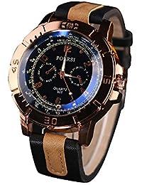 Coconano Reloj Analógico Hombre, Relojes de Lujo de Cuarzo Analógico de Cuero de Imitación Reloj