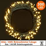 Lichterketten 300 LED Warmweiß Lichterketten String Licht 8 Funktionen / 30 Meter - Power Betrieb LED Lichterketten - Ideal für Weihnachtsdeko LED Lichterkette - Grünes Kabel - Innen und Außen