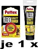 Pattex Kleben statt Bohren / Kombi-Spar-Set (1 x Klebeband + 1 x Montagekleber)