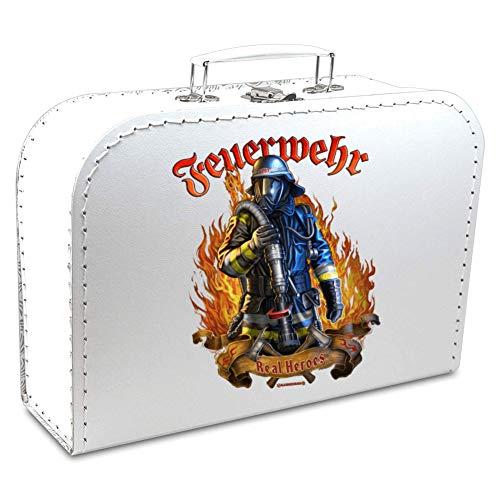 KMC Austria Design Geburtstagskoffer - Koffer für den aktiven und begeiserten Feuerwehrmann - Real Heros - Pappkoffer weiß 30cm - ALS Geschenk oder für Geschenke