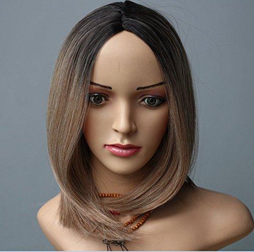 30,5 cm Noir pour platine Ombre perruque, Fashion Style résistant à la chaleur Bob tête complète Fun Perruque Noir racine à la platine
