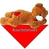 TE-Trend XXL Riesenteddy Kuschel Geschenk Teddybär Kuscheltier Plüsch Teddy braun 100 cm liegend mit Herz und Tuch Kuschelersatz