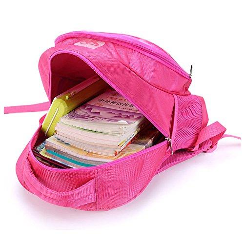 Moolecole Kinder Schule Taschen Mädchen Rucksack Kaninchen Tiere Cartoon Rose Red Schultasche rabbit04