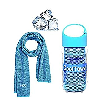 Cooling Towel, Vakki Ice Cold Sports Sweat Towel for Instant Relief perfect for Cooling Scarf Neck ,Forehead, Wristband, Bandana, Stay Cool from Over Heating During All Kinds of Sports and Exercise