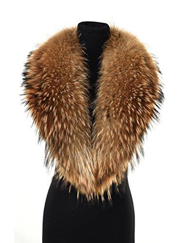 Ferand - collo sciarpa lussuosa in vera pelliccia di procione, staccabile e calda, ideale per cappotto giacca in inverno - donna - 110 cm: marrone scuro naturale