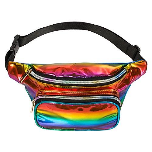 PKQP Penner Taille Tasche Pu Wasserdicht Rave Festival Hologramm Reisen Gürteltasche (Rainbow-02) (Designer-gürtel-taschen)