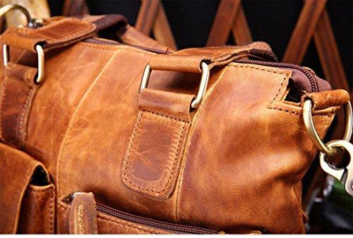 Xjp Männer Weinlese-Leder-Handtaschen-Schulter-Beutel Braun