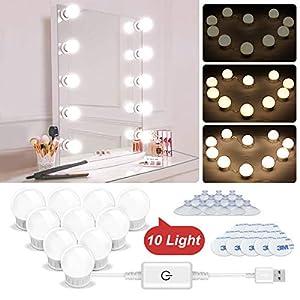 N NEWKOIN Dimmbar LED Spiegelleuchten, USB LED Makeup Beleuchtung Lampen Schminktisch Leuchten 10 dimmbare LED Badezimmer Spiegel Lampen für Make Up Lichter (keine Spiegel)