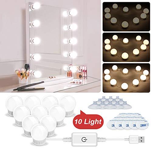 N NEWKOIN Luz de maquillaje, USB Luces de Espejo de Vanidad Luz LED con 10 Bombillas Regulables Vanidad...