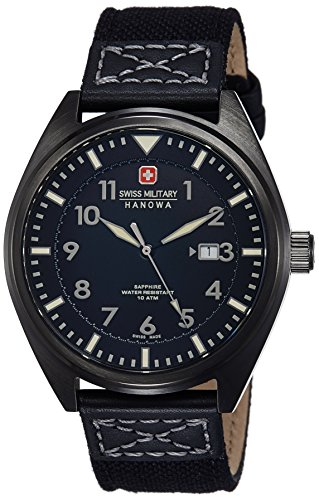 Swiss Military Men's Quartz Watch with Black Dial Analogue Display and Black Fabric, and Canvas Strap 6-4258.30.007