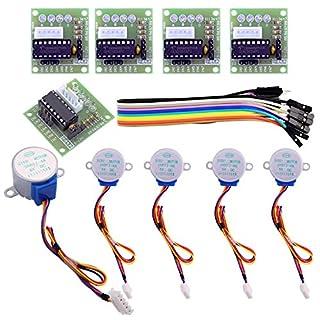 Elegoo 5er Stepper Motor Schrittmotor 5V 28BYJ-48 ULN2003 und 5 Stück Treiberplatine ULN2003 für Arduino