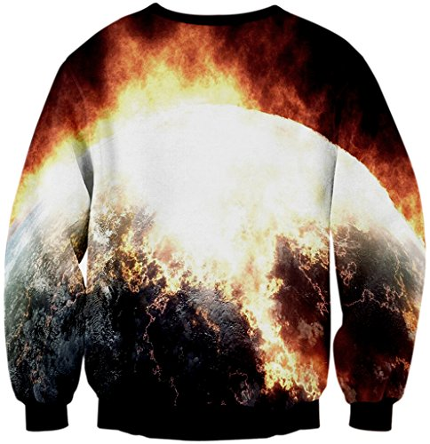 Pizoff Unisex Hip Hop Sweatshirts mit Bunt 3D Digital Printing Muster Y1759-C2