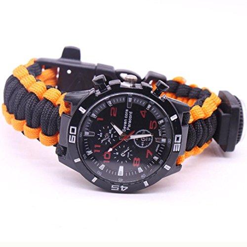Yogogo Outdoor Survival Watch Armband Paracord Kompass Flint Feuerstarter Pfeife (Bunt B)