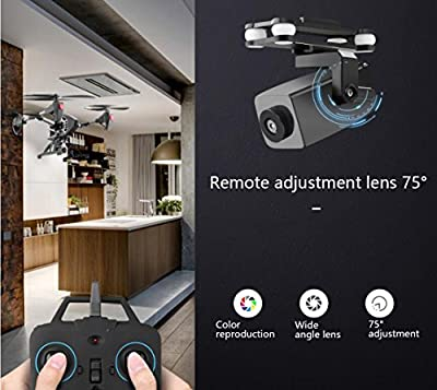 YMXLJJ 2.4G Remote Control Drone And WIFI FPV 2.0MP Wide-Angle HD Camera Remote Control 75 ° Adjustment Lens With Rotating Motor 6-Axis Gyro Four-Axis Flight Helicopter Black