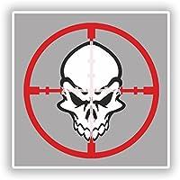 2 x 10cm/101mm Bullseye Skull Vinyl Stickers Travel Luggage #10180