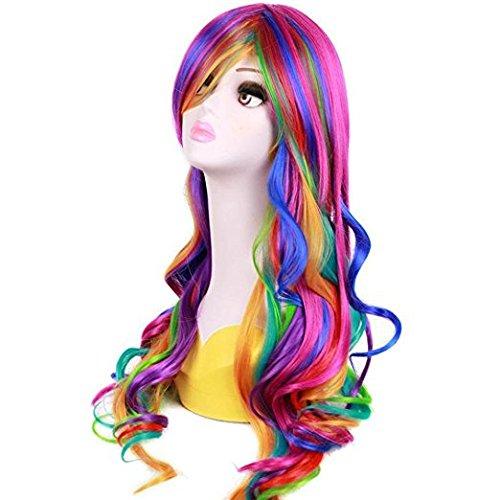 Femme Cheveux longs bouclés Fancy Perruques résistant à la chaleur de cheveux ondulés Perruques pour cosplay Costume de fête