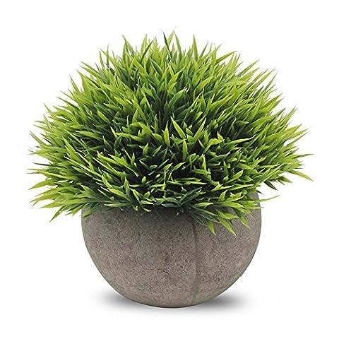 Binen Artificial Plants Faux Pots Mini Plastic Fake Green Grass for Home Decor Office