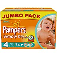 Pampers Simply Dry Gr.4 Maxi 7-18kg Jumbo Box, 2er Pack (2 x 74 Windeln)