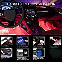 Weskimed - Striscia LED per auto, illuminazione interna per auto, con 4 luci LED RGB, 48 LED strisce, colore musicale…