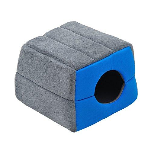 PawHut® Hundebett Katzenhöhle 2 in 1 Hundehütte Katzenbett Schlafplatz Höhle (Blau)
