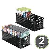 mDesign CD Aufbewahrungsbox – Aufbewahrungsbox Kunststoff Schwarz - Aufbewahrungssystem für CD' s, DVD' s, Blu-Ray' s, PS4 und Xbox One Spiele - 2er Set