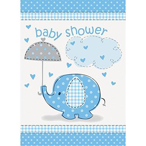 Unique Party 41714 - Inviti per Baby Shower Elefante Blu, Confezione di 8