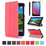 Huawei T1 7 Zoll Schutzhülle - Ultra Slim PU Leder Tasche Hülle für Huawei Mediapad T1 7.0 Zoll Tablet Smart Cover case mit Standfunktion + Displayschutzfolien und Stylus,Rot