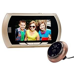 MECO 4.3 Pouces LCD Porte Spectateur, Sonnette sans Fil, Portier Interphone, Visiophone Vidéo, Caméra Vidéo, Fonction de Vision Nocturne, Metal en Alliage de Zinc,Deux Couleurs Or