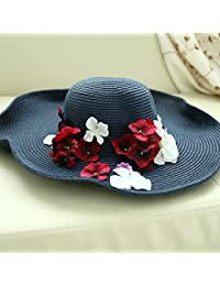 ZHANGYONG La Sra. Gorra visera plegable Sombrero Paja resort sunscreen sun  hat grandes a 467f7f91a8d