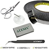 ACENIX� Touch Screen Double Sided Tape Adhesive Tape 3mm width For Smart Phones / Android Phones / Tablet ; Apple iPhone 6 Plus ,iPhone 6 5S 5C 5 4 4S , iPod iPad Mini 2/1 , iPad 5/4/3/2/1, ipad air, Samsung Galaxy Note 3 Note 2 S5 S4 S3 SIII S5830i Ace Onyx , HTC One M8 M7, Sensation, Desire C S X, Wildfire S; LG Optimus G2 G3 Nexus 6 5 4 [ ACENIX� Professional Kit With Special Scissors , Tweezer & Cleaning Cloth ]