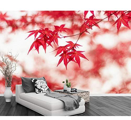 Mkkwp Rote Ahorn Natürliche Landschaft Tv Hintergrund Wand Dekoration Wohnzimmer Schlafzimmer Wandbilder 3D Wallpaper-200Cmx140Cm