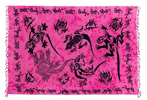Batik Wickelrock (Sarong Pareo Wickelrock Strandtuch Tuch Wickeltuch Handtuch - Blickdicht - ca. 170cm x 110cm - Pink Batik mit Schwarzem Gecko Motiv Handgefertigt inkl. Kokos Schnalle in runder Form)