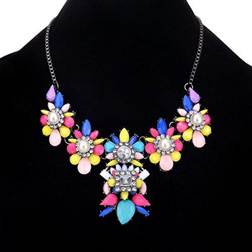 Femme Alliage Collier Fleur Réglable Perle Fête Multicolore Multicolore