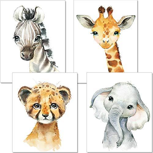 der Kinderzimmer Deko Junge Mädchen - DIN A4 Poster Tiere - Safari Afrika Wandbilder - Porträt Elefant Tiger Erdmännchen Zebra (P35) ()