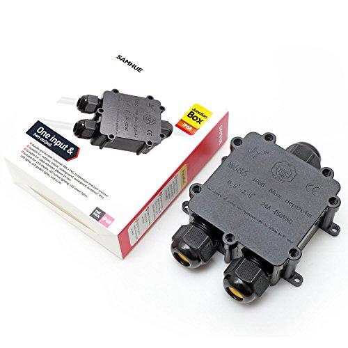 Abzweigdose IP68 Wasserdicht Kabelverbinder Aussen, SAMHUE Größere 3-Wege-Verbindungsdose Erdkabel Schwarz Elektrischer Außenverteilerdose,Kabelverschraubung Ø 4mm-14mm, ABS + PVC (Pvc-boden-boxen)