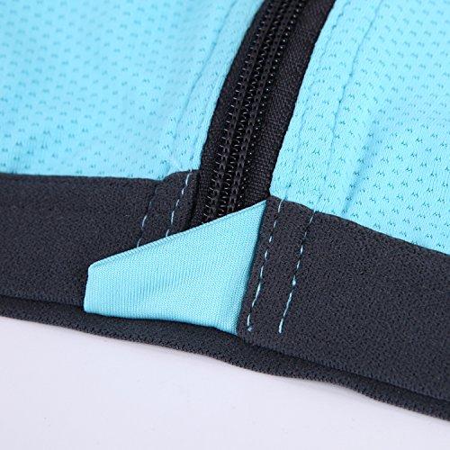CHIC-CHIC-Brassière Sport Femme Soutien-gorge Top Underwear Bra Yoga Jogging Coussinets Couche Amovibles avant Zipper Elastique Sexy Bleu