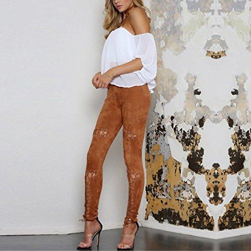 QIYUN.Z Frauen Hohlen Aus Cross-Bandage Wildleder Lace-up Legging Skinny Hosen Braun