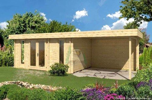Gartenhaus ORIENTAL V 40 - SD300 mit Schleppdach 320x470+300cm 40mm Blockhaus