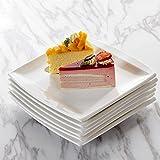 MALACASA, Serie Blance, 6 teilig Set Cremeweiß Porzellan Kuchenteller Dessertteller Frühstücksteller 8,25 Zoll / 21x21x2,5cm für 6 Personen