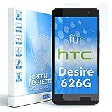 EAZY CASE 1x Panzerglas Bildschirmschutz 9H Härte für HTC Desire 626G Dual SIM, nur 0,3 mm dick I Schutzglas aus gehärteter 2,5D Panzerglasfolie, Bildschirmschutzglas, Transparent/Kristallklar