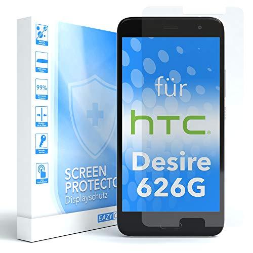 EAZY CASE 1x Panzerglas Displayschutz 9H Härte für HTC Desire 626G Dual SIM, nur 0,3 mm dick I Schutzglas aus gehärteter 2,5D Panzerglasfolie, Displayschutzglas, Transparent/Kristallklar