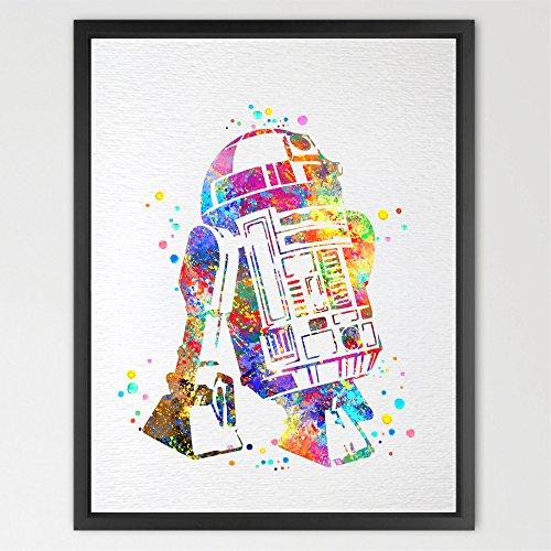 dignovel Studios Star Wars R2D2Print Kinder Aquarell Drucken Wand aufhängen Giclée-Wand Film Art Poster Geburtstag Geschenk Kinderzimmer Decor Home Décor n375-unframed