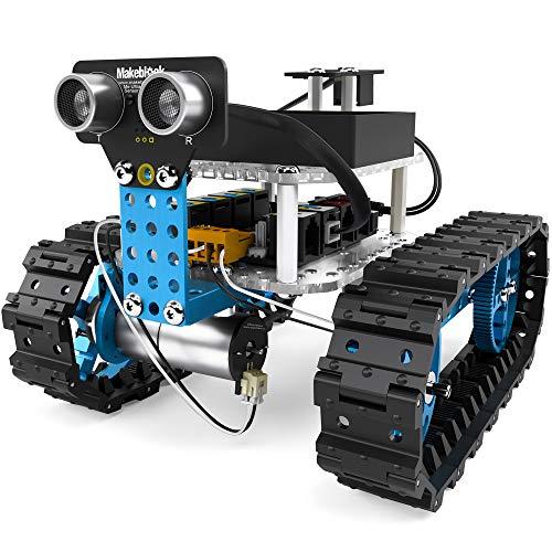 Makeblock mBot Starter, 2-in-1-Programmierbare Roboterbaukasten, Der Robotertank und Das Dreirad-Roboterauto Zwei Formen, Bluetooth-Version für Familien und Individuen, Blau