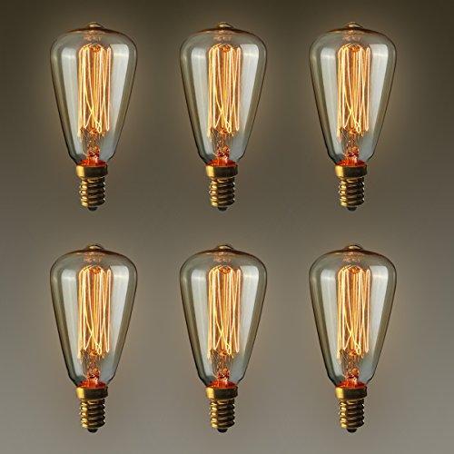 KINGSO E14 Vintage Retro Edison Glühbirne Glühlampe (40W, ST48, Dimmbar) Ideal für Nostalgie und Antik Beleuchtung 2200K 220V Warmweiß [Energieklasse E], 6er Set