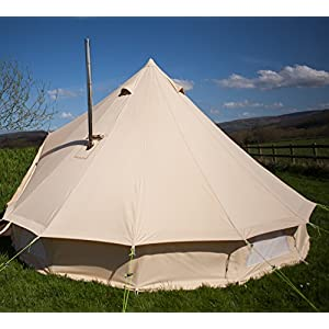 4m fire retardant bell tent with stove hole 100% 320gsm cotton canvas family tent camping tent glamping tent