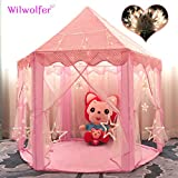 Princess Tent Large Castle Playhouse For Children Indoor And Outdoor Games Hexagon Kids Play Tent With 17 Feet 50 Star Lights (Pink) By Wilwolfer