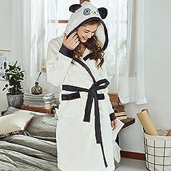 Albornoces GAOLILI Temporada de invierno engrosamiento de la pijama de la señora Cute Sleep Robe Warm Long Section Inicio ropa (Color : Multi - color, Tamaño : L)