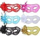 TANKASE La bola veneciana de la mascarada del cordón de la flor 6pcs enmascara el accesorio del traje del partido